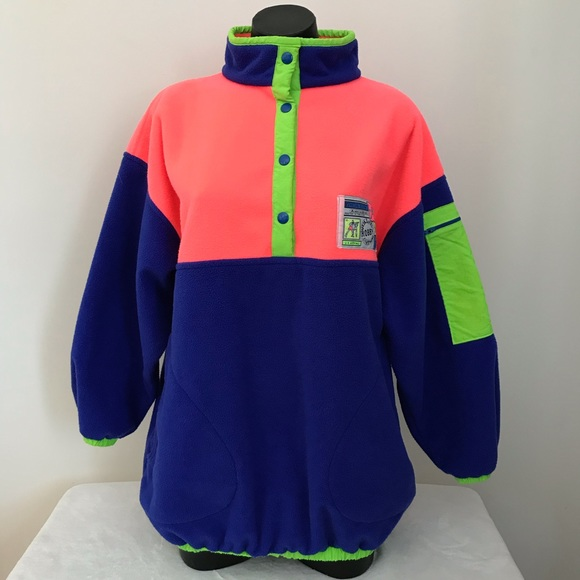 Vintage Women's  fluo colors fleece jacket